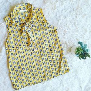 Modcloth tie front blouse sz med